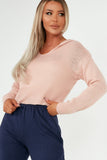 Melinda Pink Hooded Knit Crop Jumper