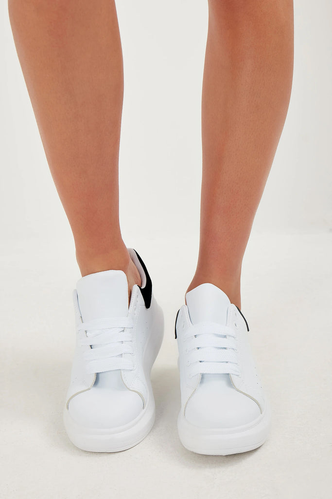 Mellie White Black Velvet Detail Trainers
