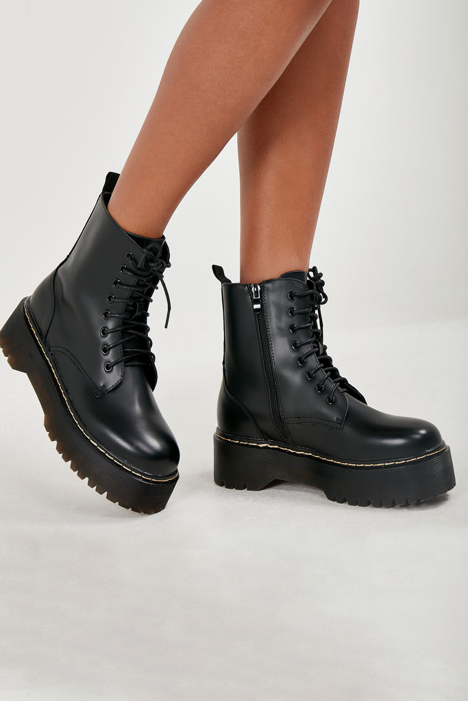 Melly Black Chunky Sole Lace Up Ankle