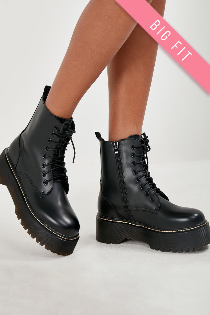 Melly Black Chunky Sole Lace Up Ankle Boot
