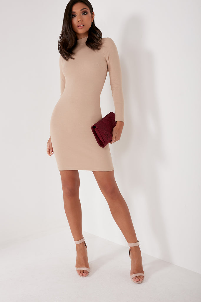 Mena Beige High Neck Ribbed Dress