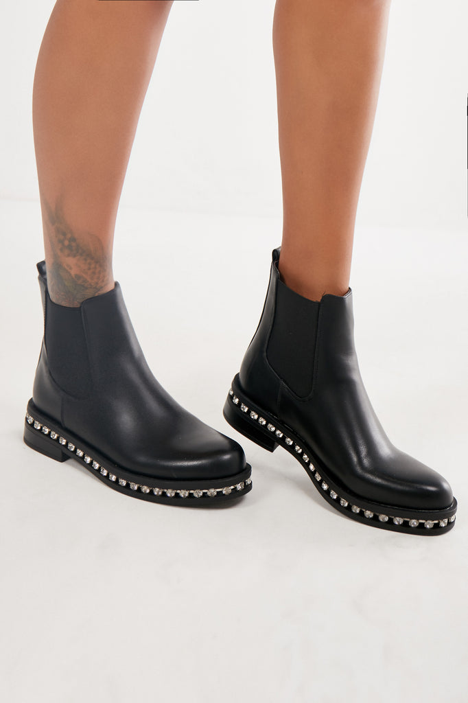 Mena Black Diamante Chelsea Boots (1991958954050)