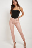Mena Blush High Waisted Wax Trousers
