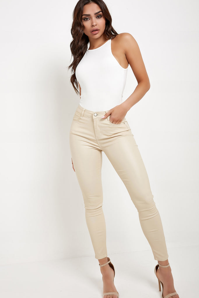 Mena Stone High Waisted Wax Trousers