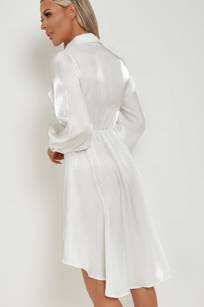 Merdeth White Satin High Low Shirt Dress