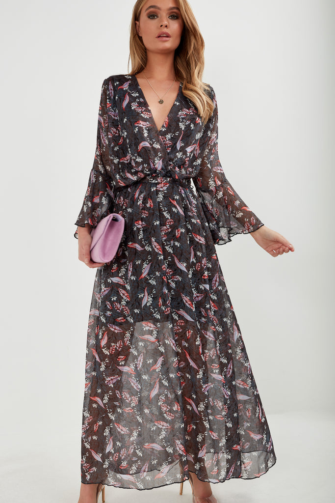 Merdith Charcoal Leaf Print Maxi Dress