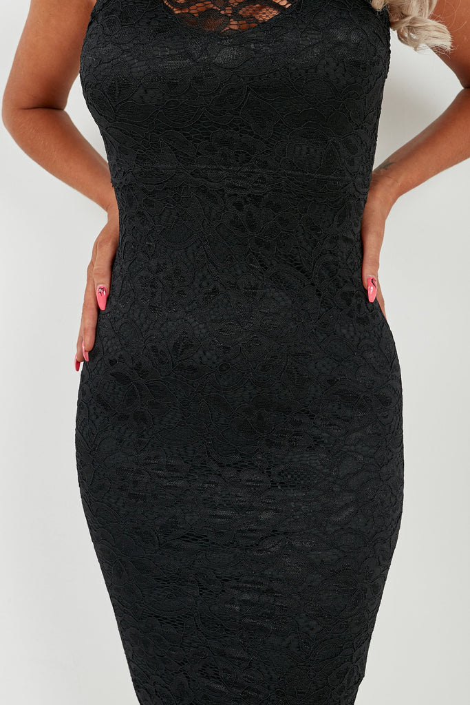 Merina Black Lace Racer Back Midi Dress (2032841392194)