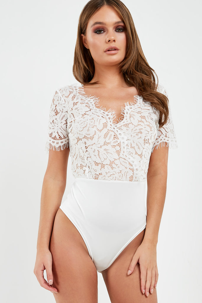 Merinda White V Neck Lace Bodysuit