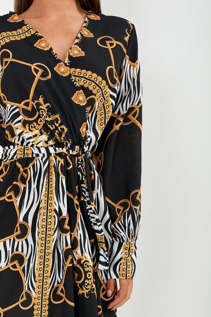 Mia Black and Gold Zebra Multi Print Dress