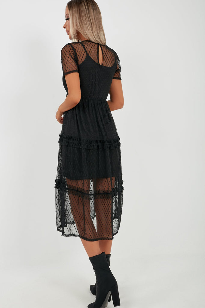 Mia Black Tiered Mesh Ruffle Midi Dress (4170357014594)