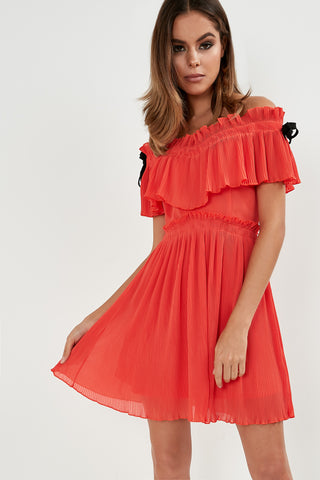 6bf0a6be94ee Michela Orange Crinkle Bardot Dress