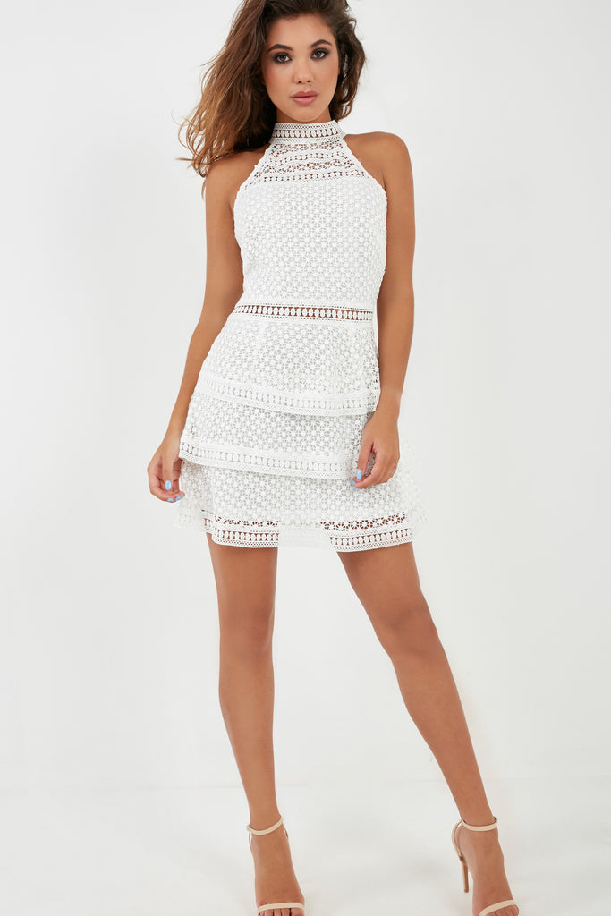Michelle Cream Crochet Tiered Dress (1983047958594)