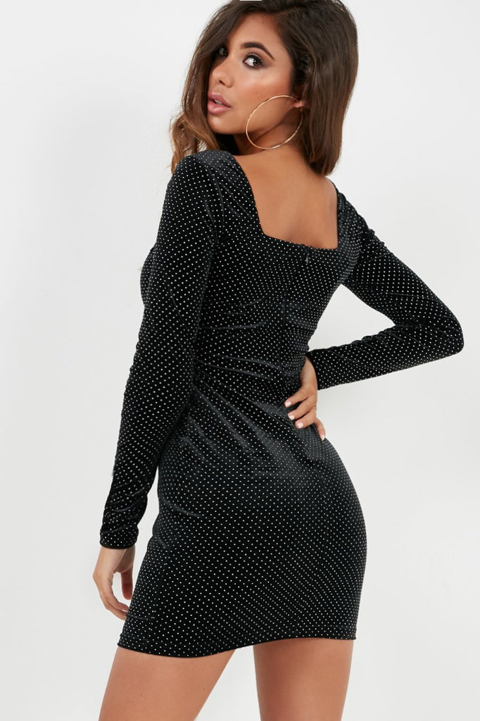 Mila Black Polka Dot Velvet Long Sleeve Bodycon Dress (4096742031426)