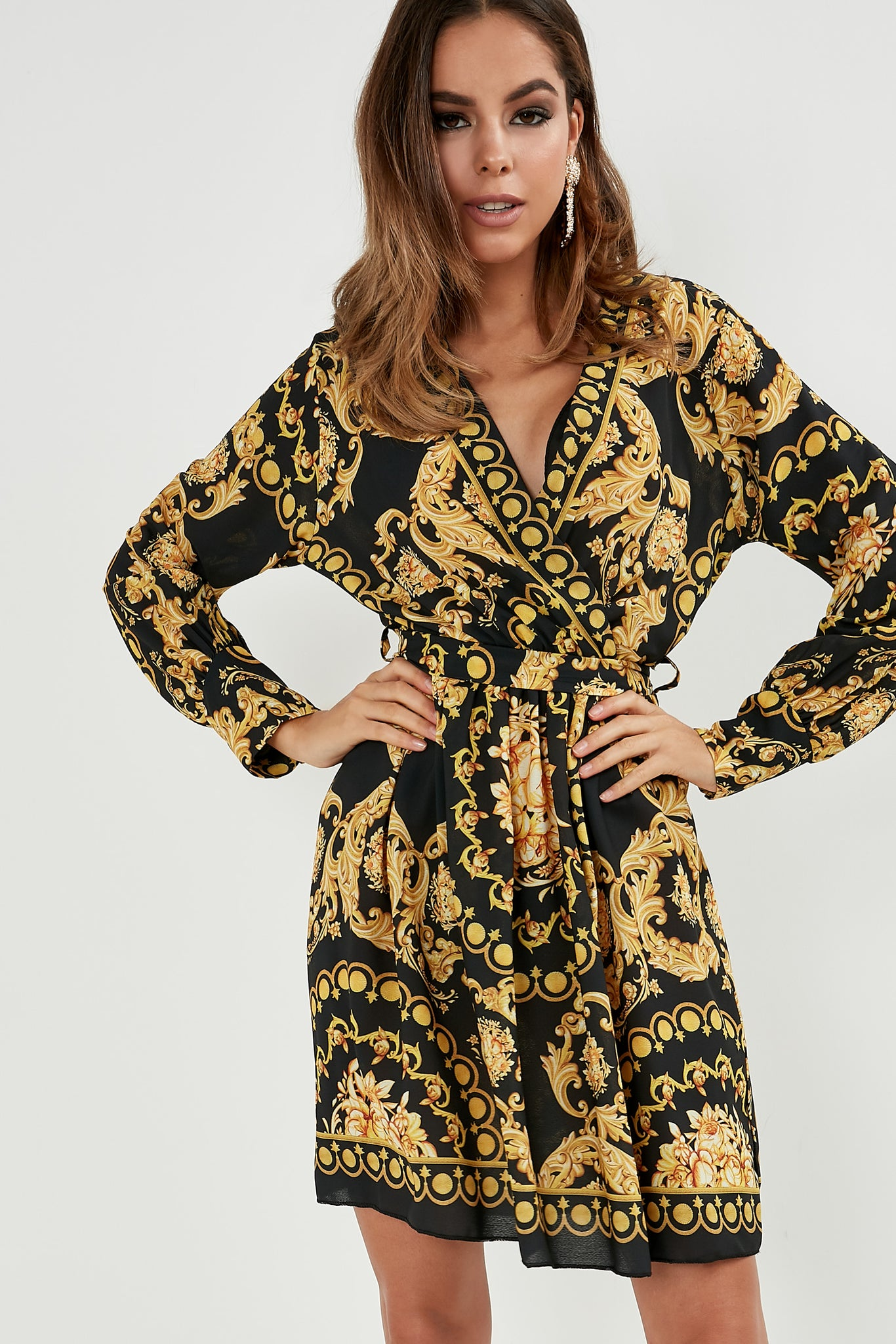bottom price best selection of beautiful style Mildred Black And Gold Scarf Print Wrap Dress