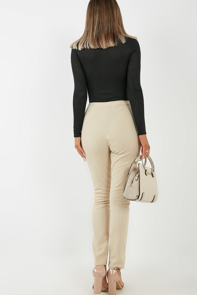Mildred Cream Pinstripe Slim Leg Trousers (4346312392770)