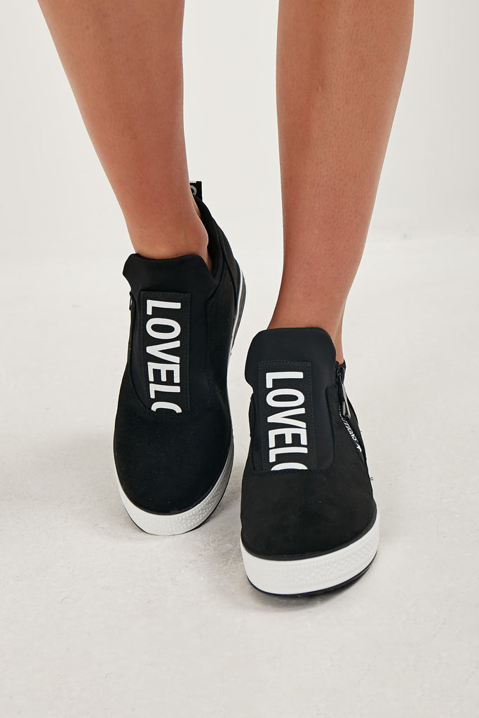 Milly Black Suedette Ankle Trainer