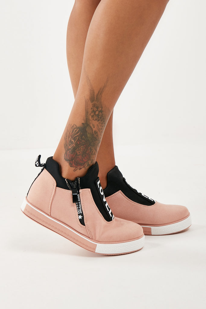 Milly Pink Suedette Ankle Trainer