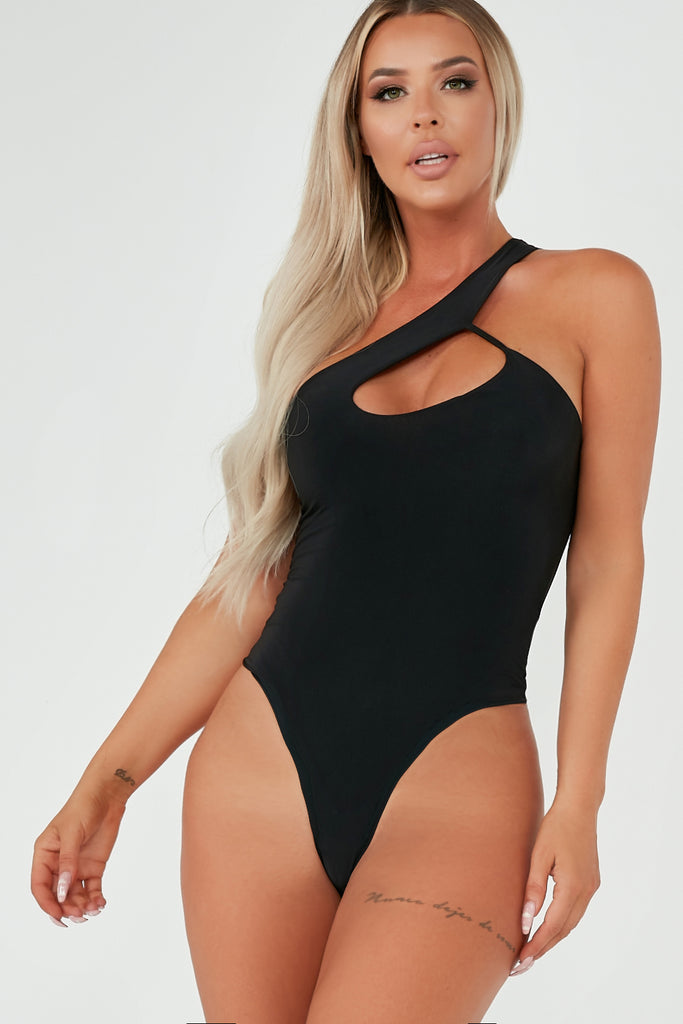 Mindy Black Cut Out Slinky Bodysuit