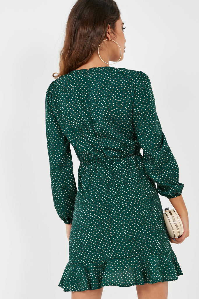 Mindy Green Polka Dot Frill Dress