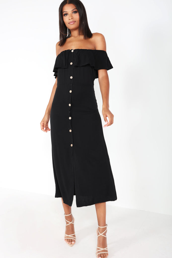 Miranda Black Bardot Midaxi Dress
