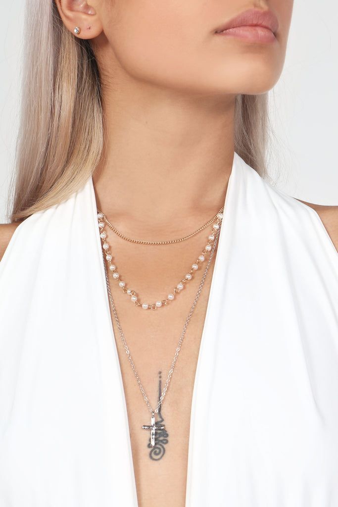Mixed Metal and Pearl Layered Necklace (82730909712)