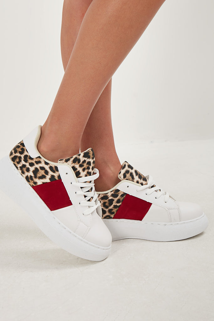 Moana White Leopard Panel Trainers