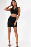 Moira Black Glitter Velvet Crop Top (10033799760)