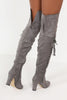 Molly Grey Suedette Over Knee Boot