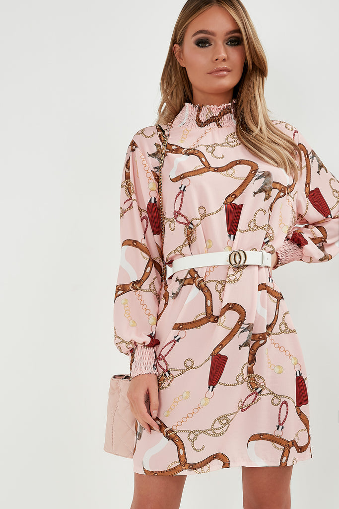 Molly Pink Chain Print Highneck Dress