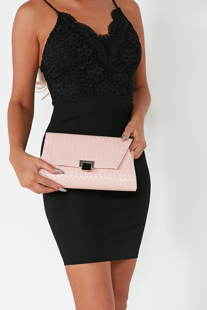 Monicia Pink Embossed Clutch (1482004660290)
