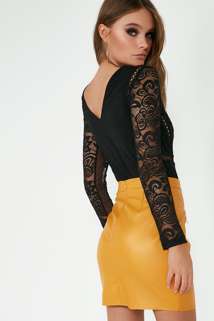 Monique Black Lace V Neck Bodysuit
