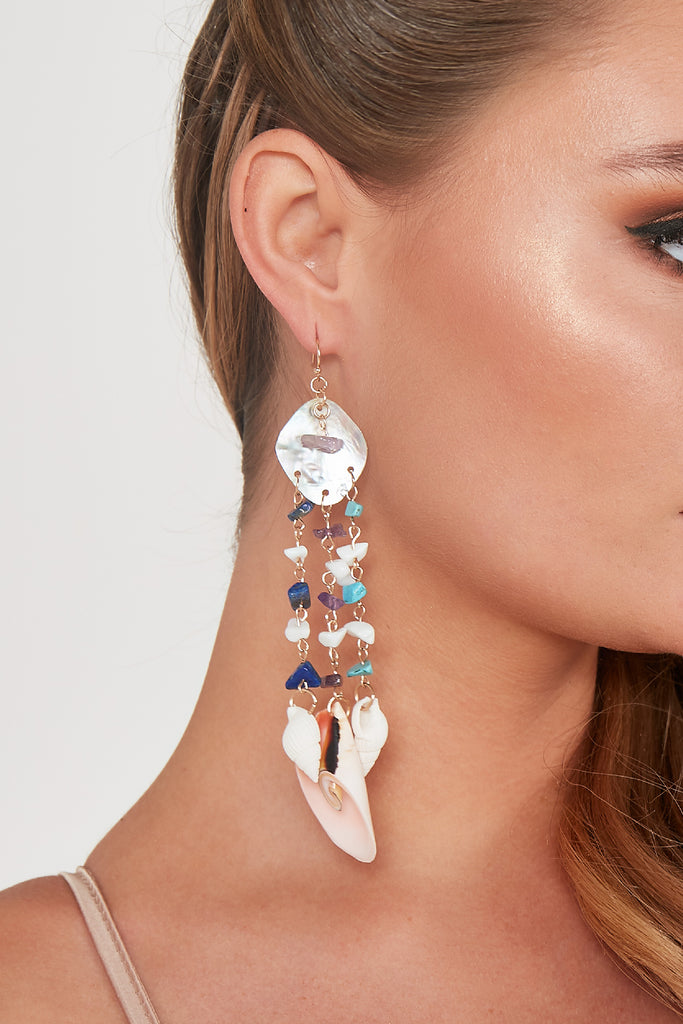 Multi Shell Long Drop Earrings