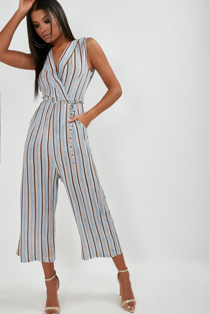 Mya Blue Stripe Wrap Jumpsuit