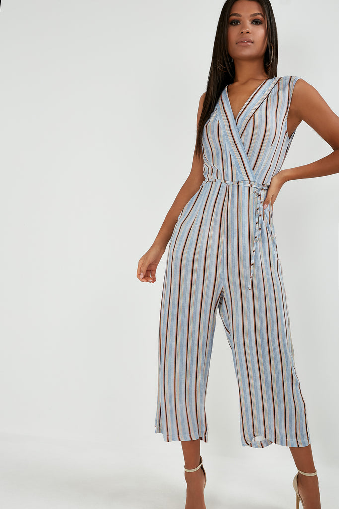 Mya Blue Stripe Wrap Jumpsuit (1754275348546)