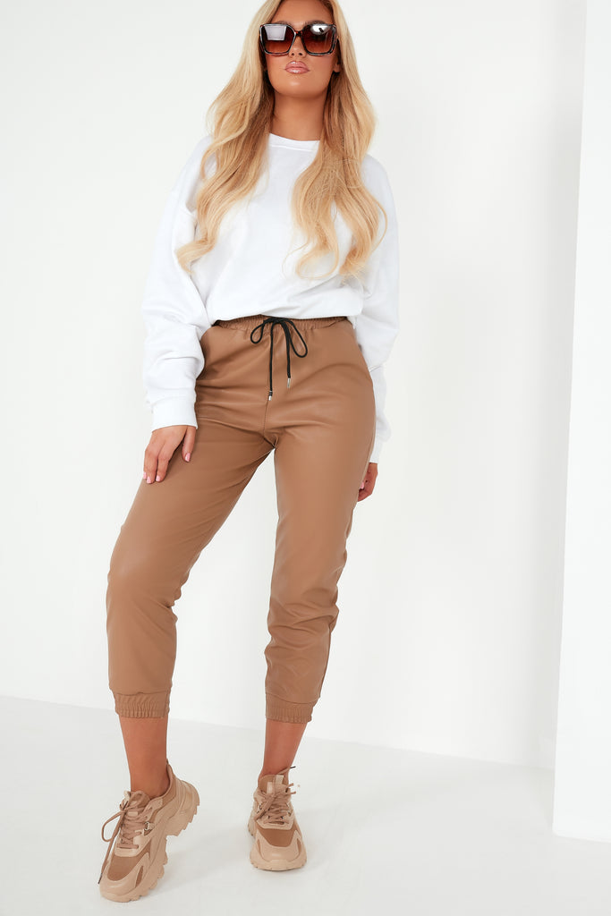 Myla Tan Faux Leather Joggers
