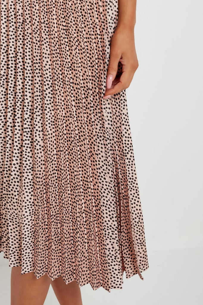 Myleen Pink 2 in 1 Polka Dot Pleated Midi Dress