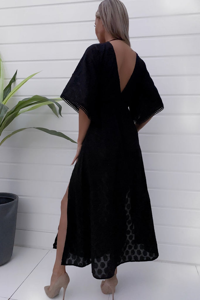 Myra Black Kimono Beach Maxi Dress