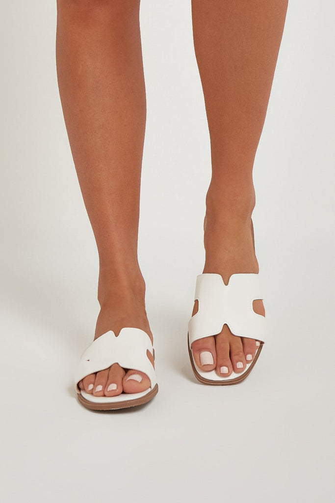 Nada White Leather Look Sliders