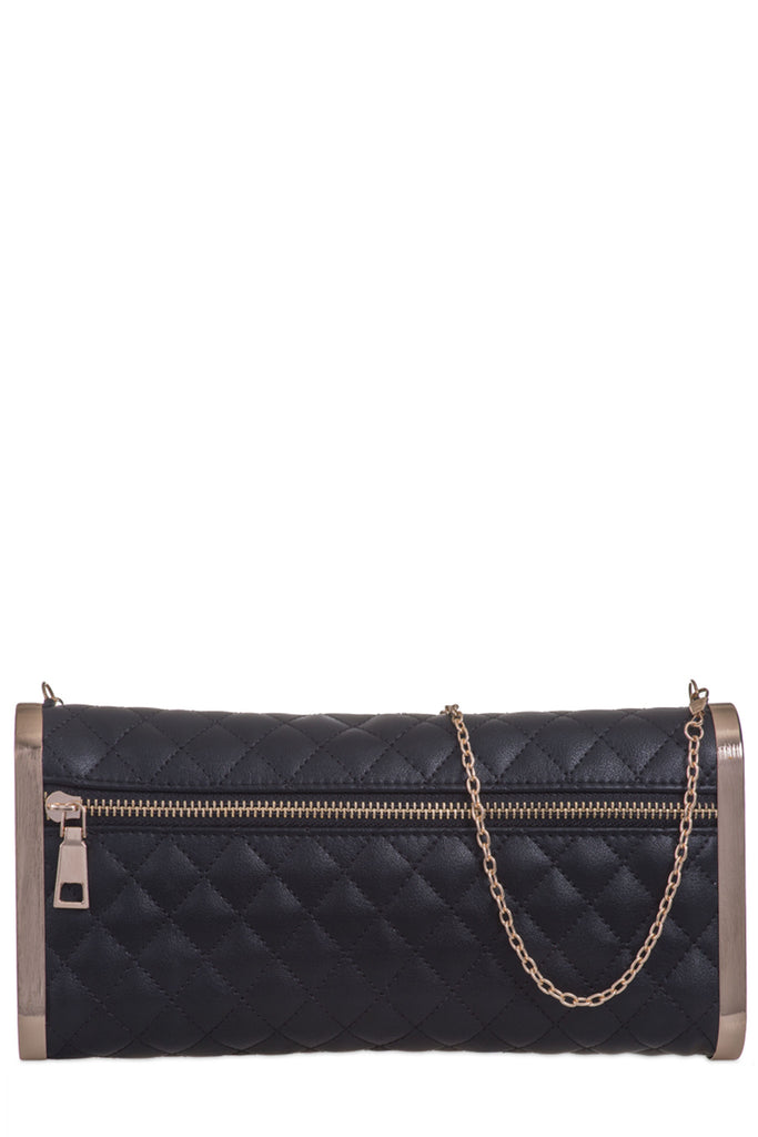 Nadia Black Leatherette Quilted Clutch Bag