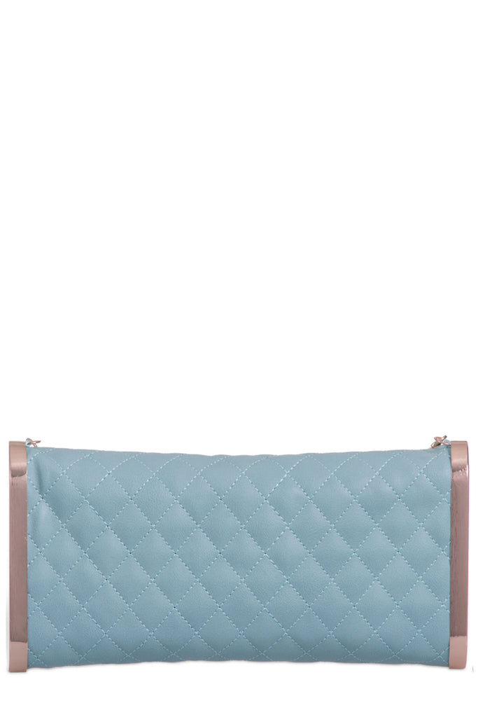 Nadia Mint Leatherette Quilted Clutch Bag