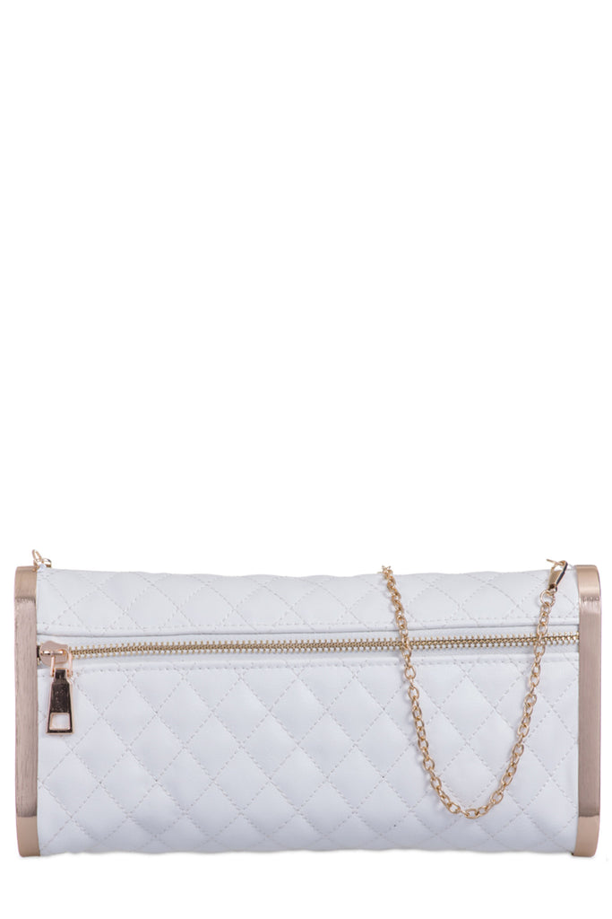 Nadia White Leatherette Quilted Clutch Bag