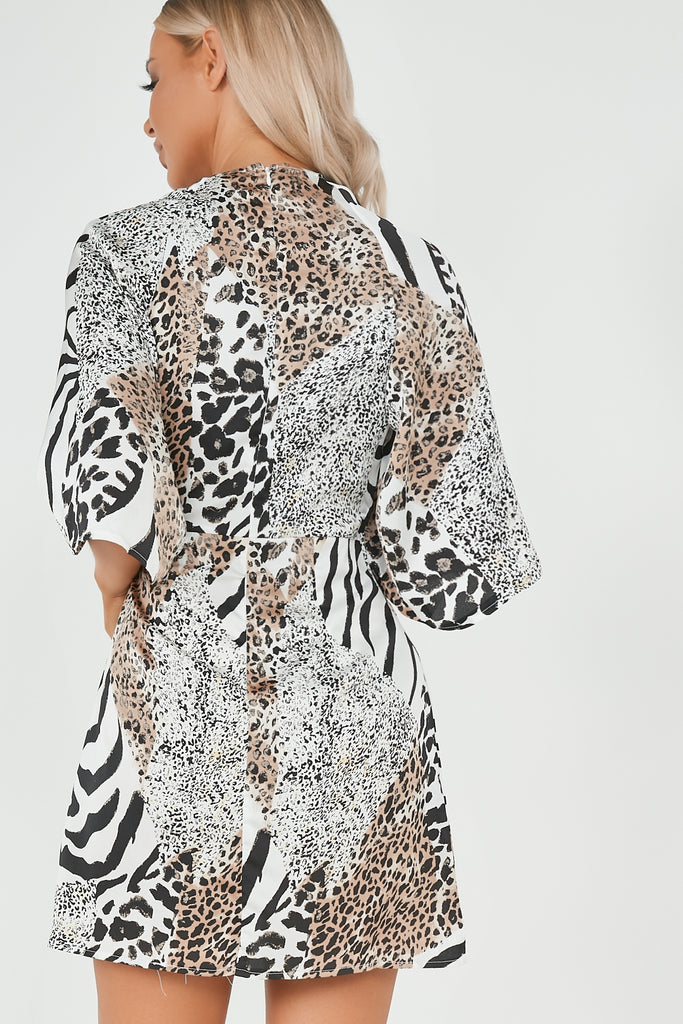 Nadine White Mixed Animal Print Tie Front Dress