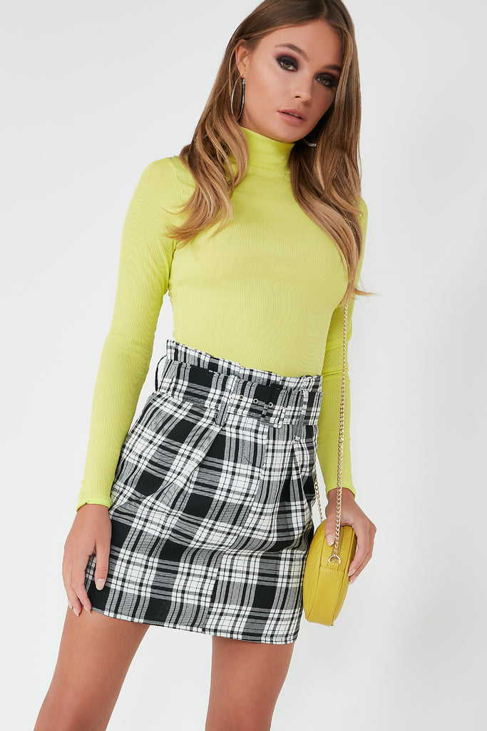 Nadya Lime Green Ribbed Polo Neck Top