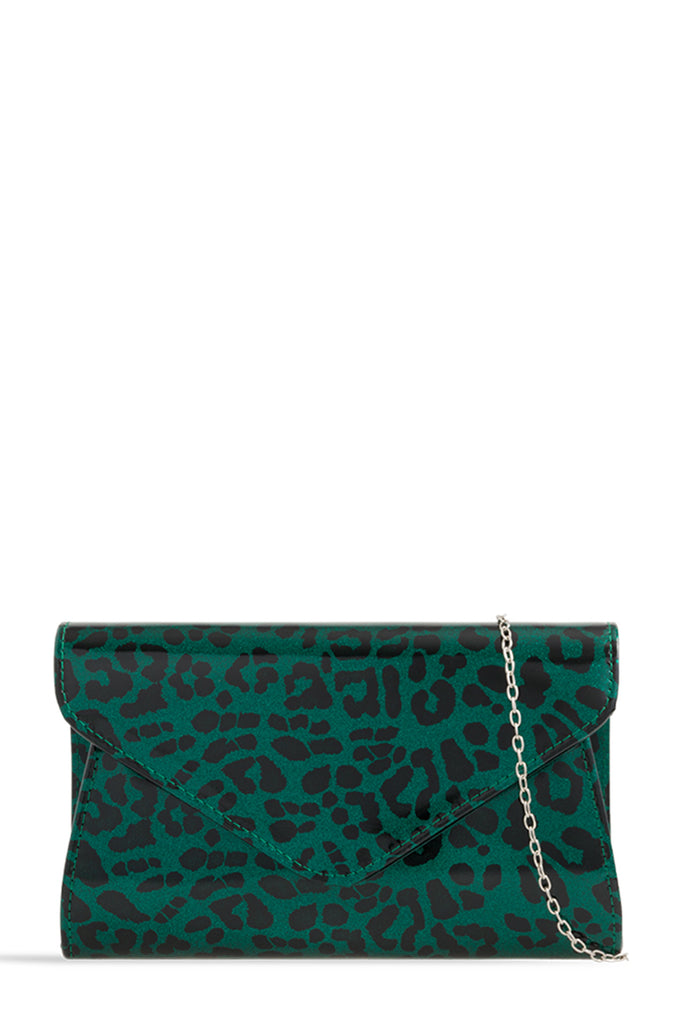 Nadz Dark Green Leopard Patent Clutch