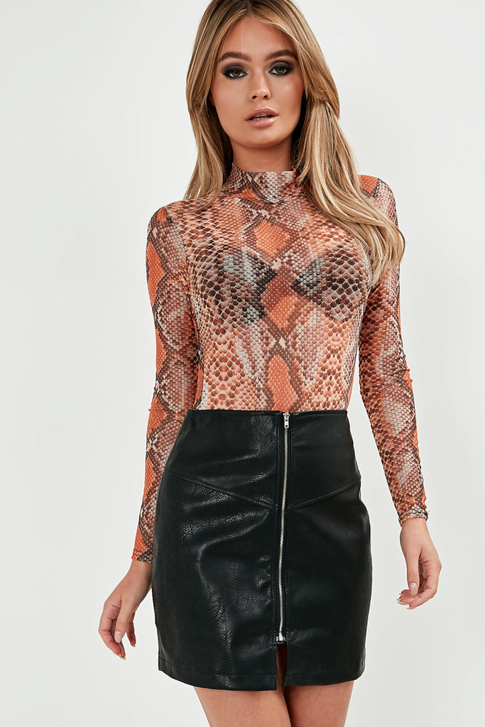 Nakisha Black Zip Front Mini Skirt (1765043306562)