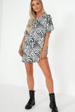 Nakita Monochrome Zebra Print Smock Dress