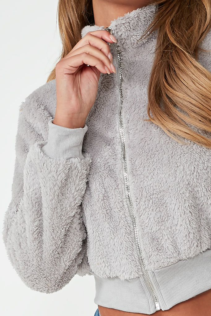 Nancie Grey Teddy Crop Jacket