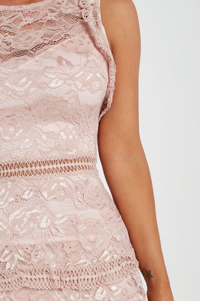 Nancy Blush Lace Cold Shoulder Dress