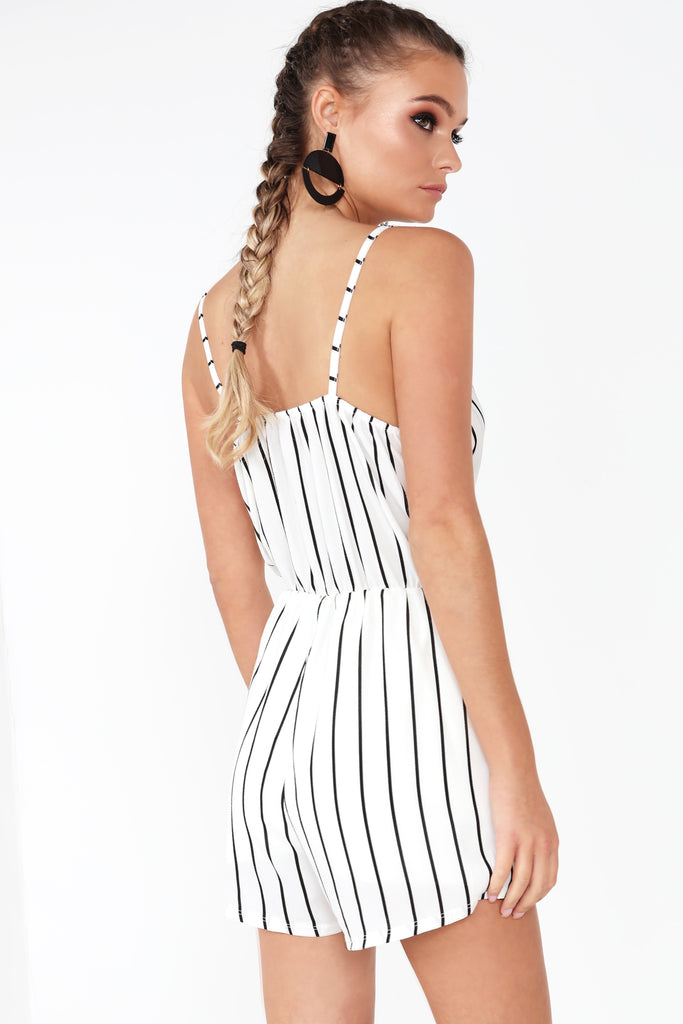 Naoise White Striped Playsuit