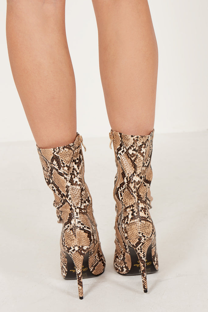 Nascala Brown Snake Print Ankle Boot